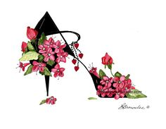 Weigela, Rosebuds, Hearts and Love Flower Shoe 2016 Brownlee Wall Art Fashion Illustration Shoes, Flower Shoes, Art Impressions, Shoe Art, Sign Printing, Love Flowers, Rose Buds, Hibiscus, Note Cards