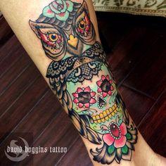 I love sugar skull tattoos so hard. Artist David Boggins.