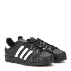 Adidas Superstar Foundation Leather Sneakers (700 HRK) ❤ liked on Polyvore featuring shoes, sneakers, adidas, trainers, black, black leather sneakers, genuine leather shoes, leather footwear, black shoes and adidas footwear