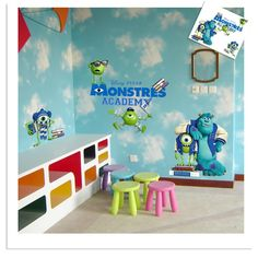 Cartoon Monsters University Childrenu0027s Living Room Bedroom Sofa TV  Background Creative Removable Home Decoration Wall Stickers