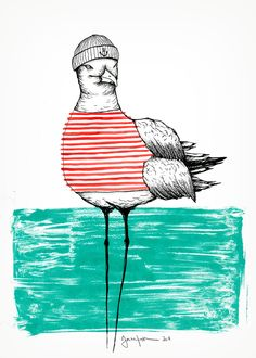 seagull with stripes / prints by daniela garreton - . seagull with stri Art And Illustration, Watercolor Illustration, Deco Surf, Design Art Drawing, Motifs Animal, Sea Art, Bird Art, Cool Art, Art Drawings