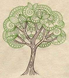 Delicate tree embroidery pattern