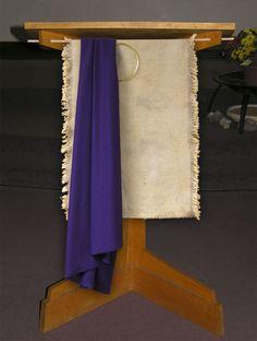 Lenten pulpit - The Loft. Use burlap...purple... simple.
