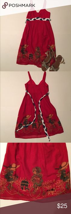 """Red Character Sundress 👗 Extra small red sundress with a braided belt and characters on the bottom. Length of 34"""" and waist/bust of 13"""". Dresses"""