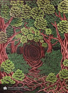 Rysunek ciemny mroczny las, 2014 rok. Pierwszy taki rysunek po tym, jak odkryłem nowy sposób na to jak narysować liście. Myślę, że ta zieleń i gęste liście wyglądają całkiem w porządku. Sam rysunek jest może lekko płaski. Uwielbiam naturę i dzikie krainy. Praca wykonana kredkami i ołówkami, nieco większa niż zwykle, bo na kartce A3. Mnóstwo roboty z rysowaniem tych liści. Więcej na mojej stronie. Jakub Łechtański.
