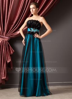 A-Line/Princess Strapless Floor-Length Tulle Charmeuse Prom Dress With Beading Feather Sequins (018014241) - JJsHouse
