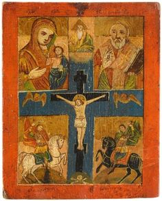 Russland-18-19-Jh-ICON-Kreuzigung-Christi-Gottesmutter-Hl-Nikolaus