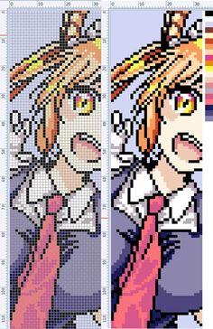 Anime Pixel Art, Art Anime, Beaded Cross Stitch, Cross Stitch Patterns, Geek Perler, Pixel Art Grid, Pix Art, Pixel Art Templates, Peler Beads