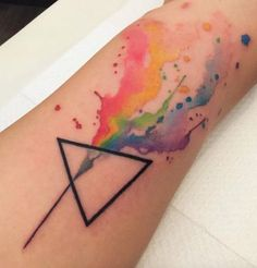 Geometric Abstract Rainbow Watercolor Tattoo - MyBodiArt.com