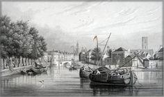 Staalgravure Anno 1858 : UTRECHT - De Weerdpoort en de Oude Ryn