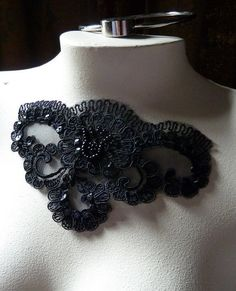 Beaded Lace Applique in Black for Bridal, Jewelry, Millinery or  Costume Design BRI 7bl