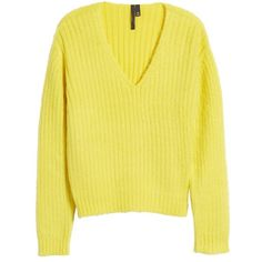 Women's Topshop Boutique V-Neck Rib Sweater (€105) ❤ liked on Polyvore featuring tops, sweaters, yellow, topshop sweater, ribbed v neck top, ribbed v neck sweater, fuzzy sweater and rib top