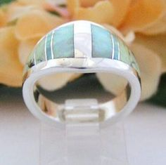 Gaspeite and Fire Opal Ring in Size 7 by Navajo Inlay Artist Robert Vandever Native American Indian  Sterling Silver Jewelry