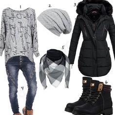 Lässiges Winteroutfit mit schwarzem Parka und Boots (w0836) #grau #schwarz #jeans #outfit #style #fashion #womensfashion #womensstyle #womenswear #clothing #frauenmode #damenmode #handtasche  #inspiration #frauenoutfit #damenoutfit
