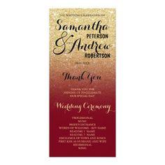 Chic faux gold glitter burgundy wedding program