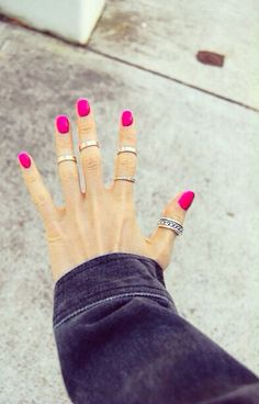 love pink nails (and midi rings!)