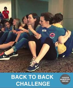 """Classic quick game or team building """"back to back"""" challenge. Youth Ministry Ideas and Games."""