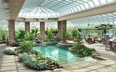 Swimming Pool Enclosures, Indoor Swimming Pools, Swimming Pool Designs, Lap Swimming, Lap Pools, Oasis Pool, Piscina Interior, Greenhouse Interiors, Luxury Pools