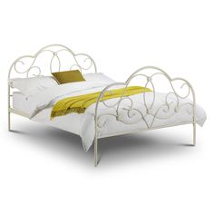 Arabella Bed Frame - Ornate Wrought Iron Bedstead - Stone White | eBay