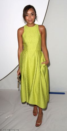 93fbc6d698b Jessica Lowndes opts for a lacy frock at Monique Lhuillier s NYFW show