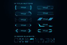 Sci Fi UI Elements Set consists of 124 vector editable elements. You can easy create your unique design using elements and any graphic redactor. Web Design, Game Ui Design, Design Trends, Game Interface, User Interface Design, Sci Fi Fonts, Futuristic Fonts, Futuristic Design, Ui Buttons
