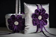 Plum Wedding Basket Plum Ring Bearer Pillow Silver Flower
