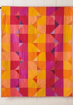 Summer from Quilt Giving: 19 Simple Quilt Patterns to Make and Give by Deborah Fisher Scrappy Quilts, Easy Quilts, Mini Quilts, Patchwork Quilting, Owl Quilts, Quilt Baby, Quilt Inspiration, Orange Quilt, Easy Quilt Patterns