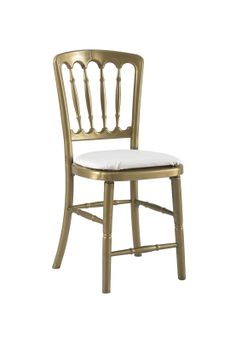 Gold Gilt Chair with White Seat Pad offers Traditional design stackable eco-friendly resin chair, shown here with a White seat pad but is also available in various coloured seat pads. http://www.eventhireonline.co.uk/chairs/gilt
