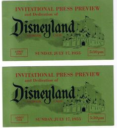 Six thousand invitations to the Grand Opening had been mailed to studio workers, construction workers, the press and officials of company sponsors. Disneyland Opening, Disneyland Tickets, Vintage Disneyland, Disneyland Resort, Disney Names, Disney Trivia, Old Disney, Disney Pics, Disney Stuff