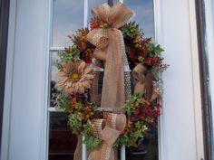 Primitive ~Black Crow~Burlap Daisy ~Door~ Wreath~Double Bows #Handmade