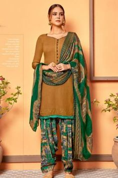 Patiyala Dress, Daily Wear, Ethnic, Sari, Buttons, Suits, Brown, How To Wear, Dresses