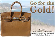 35cm Hermès Gold Taurillon Clemence Leather Birkin Handbag with Palladium Hardware - Go for the Gold!
