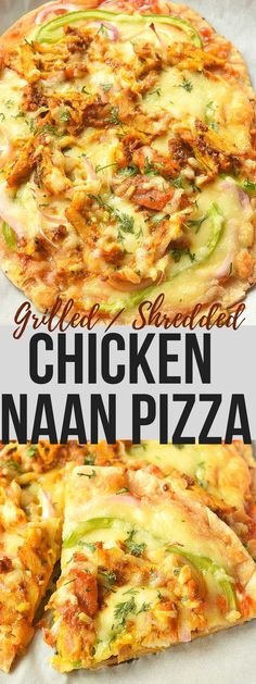 Garlic Naan Grilled Chicken Pizza! $naan #pizza #easy #recipe #grilledchicken #chicken #grilled #shreddedchicken #shredded #delicious #yummy