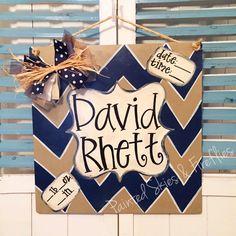 Hospital Birth Announcement Door Hanger / baby boy / baby shower / gift / newborn / navy and tan decor by paintedskyfirefly