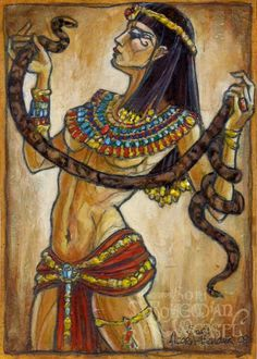Cleopatra.  'The snake gives a noble death, it is a fitting end for the Queen of Egypt.'  By Bohemian Weasel aka Soni Alcorn-Hender. #BohemianWeasel