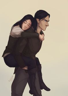 Elide and Lorcan Piggyback by taratjah  Elide and Lorcan are from the Throne of Glass series by Sarah J. Maas
