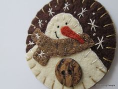 Wool Felt Ivory Snowman Ornament Heather Tan by WoollyBugDesigns