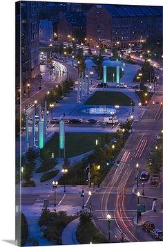 City lit up at dusk, Atlantic Avenue Greenway, Boston, Massachusetts