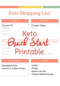 If you're doing specific recipes for your keto meal plan, you'll likely make your own keto diet shopping list. This beginner keto grocery list printable is more like a cheat sheet. If you've opened your shiny new keto and gotten it out of the box, but don't have time to read the whole instruction manual, use this quick start guide to get going right away.