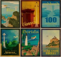 I love this entire board of vintage travel posters.