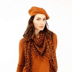 Fallon Brown Pom-Pom Knitted Silk Cashmere Beret by Asneh Fashion Brand, Luxury Fashion, Teen Winter Outfits, Cat Scarf, Knitted Beret, Cashmere Yarn, Leopard Scarf, Looking Gorgeous, My Outfit