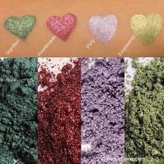 4 out of the 32 gorgeous Mineral Pigment Powders available that can be used on eyes, lips and even to streak hair! They are highly-pigmented and a very versatile product. Pigment Powder, Younique, Mineral, Makeup, How To Make, Hair, Lips, Beauty, Make Up