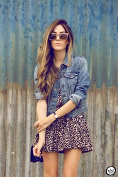 @roressclothes closet ideas #women fashion Leopard Printed Outfit Idea with Denim Jacket