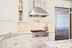 Teri Turan - contemporary - kitchen - atlanta - Turan Designs, Inc. Kitchen Hoods, Kitchen Stove, Kitchen Backsplash, New Kitchen, Backsplash Design, Backsplash Ideas, Travertine Backsplash, Kitchen Counters, Kitchen Reno