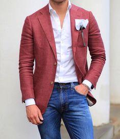 latest trends : mens fashion ideas мода, мужской стиль, с Blazer Outfits Men, Mens Fashion Blazer, Stylish Mens Outfits, Suit Fashion, Red Blazer, Mens Casual Suits, Men's Outfits, Womens Fashion, Trajes Business Casual