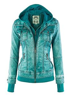 MBJ Womens 2-For-One Hooded Faux leather Jacket M TURQUOISE Made By Johnny
