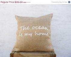Ocean words inspired screenprint pillow The by TexturableDecor