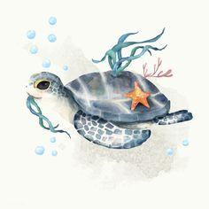 Illustration Of Turtle Cute Turtle Drawings, Cute Animal Drawings, Cute Drawings, Drawing Animals, Sea Turtle Art, Turtle Love, Turtle Tattoo Designs, Turtle Tattoos, Ocean Tattoos