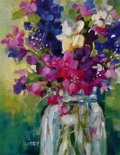 """Daily+Paintworks+-+""""Exuberant+Bouquet""""+-+Original+Fine+Art+for+Sale+-+©+Libby+Anderson"""