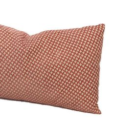 Coral Chenille Farmhouse Throw Pillow Cushion Cover Plush Lattice Decorative French Country Lumbar Pillow Accent Sofa Toss 16X16 18X18 20X20 Very plush, high-end upholstery weight designer fabric. Beautiful petite beige and coral lattice in a rayon/cotton blend. It is a very soft,